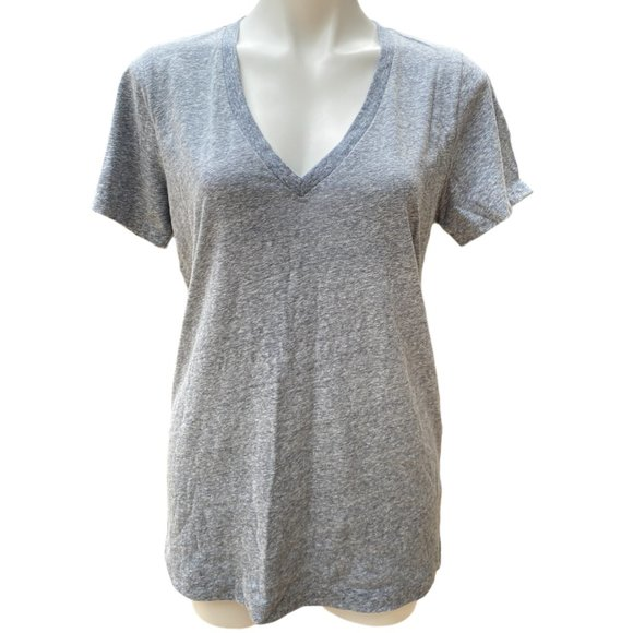 J. Crew V Neck Short Sleeve Heather Grey Top - LG